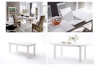 Nova Solo Halifax White Solid Wood Mahogany Dining Tables - 3 Sizes & Extending