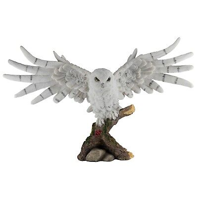 """Snowy Owl Figurine With Wings Spread 14.75"""" Wide Highly Detailed Resin New!"""