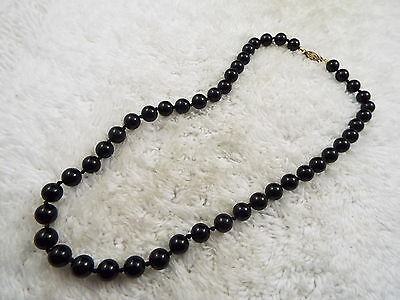 Black Glass Pearl Necklace (B35)