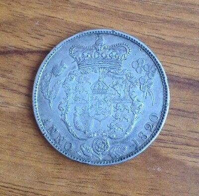 George IV Milled Silver Half Crown Two Shillings and Sixpence Coin Dated 1820