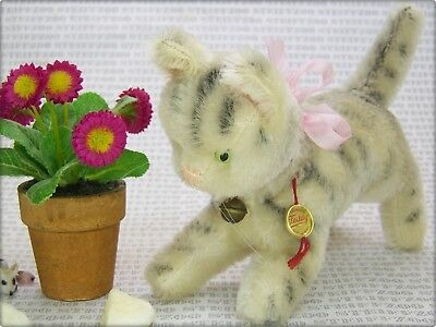 HERMANN alte 18 cm lange KATZE * old 7 inch tabby CAT with ID Button