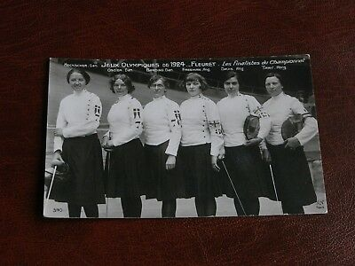 Original Paris Olympic Games 1924 Fencing Postcard, Six Ladies Finalists, Oscier