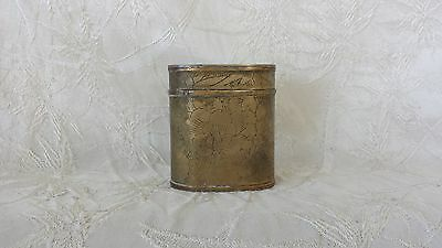 Antique Chinese Engraved Brass Tobacco Box Early 1900's