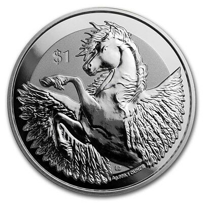 2018 1 oz Silver British Virgin Islands Pegasus Reverse Frosted Coin caps/pouch