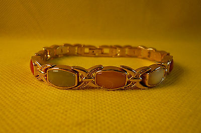 """CLASSIC LOOK GOLD TONE LINK BRACELET-Colored cabochons-71/2""""-Classic Catch"""