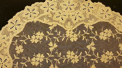 Vintage Small Ecru Tambour Net Lace   Table Runner Doily Topper