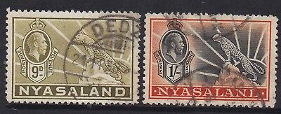 Nyasaland 1934 Kgv Leopard 9D And 1/- Used Top 2 Values