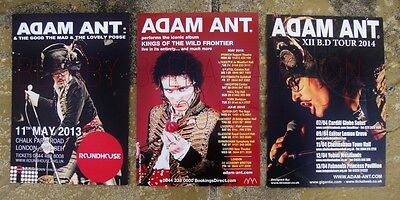 ADAM ANT - 3 LARGE FLYERS - 2013, 2014 and 2016