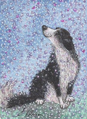 Border Collie dog orig ACEO mini painting sheepdog by Susan Alison blossom time