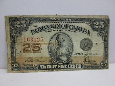 1923 Dominion Of Canada Twenty Five Cent Fractional Note