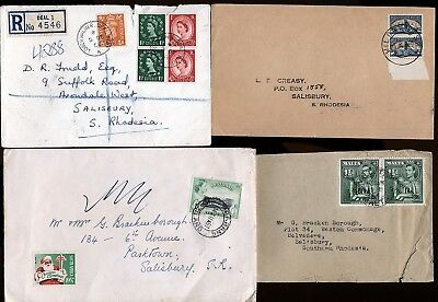 Malta Great Britain South Africa 4 Covers To S.rhodesia.    A796