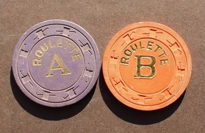 Vtg Poker / Casino Clay Chip -  ROULETTE A & B (Top Hat / Cane NCV)