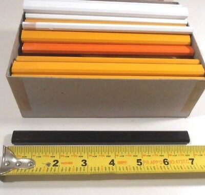 "Lot Of 72 Flat Mix Color Carpenters Pencils  Black Lead Approx.7"" Long"
