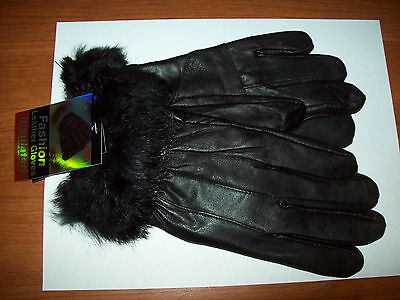 Woman's Brown Insulated Leather Gloves With Faux Fur on Wrist. Sizes M & L   NWT