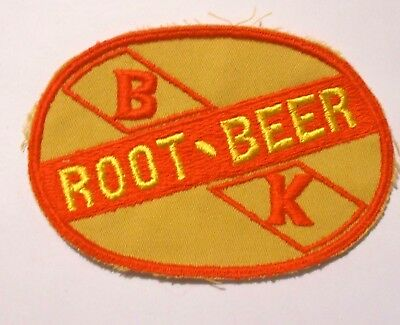 """B K Root Beer Embroidered Soda Patch Vintage 3"""" X 4-1/4"""""""