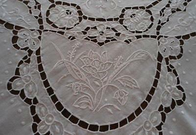 Vintage White Madeira Banquet Tablecloth Shadow Work Embroidery Cutwork 98""