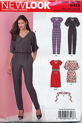 New Look Sewing Pattern 6413 Misses Sz 8-20 Dresses & Jumpsuits W/ Tapered Legs