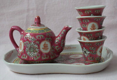 Tea Set Made In China Miniature Tea Pot Cups Tray Ceramic Pottery Pink Chinese
