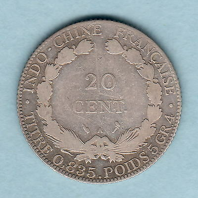 French Indo China. 1903 20 Centimes.. F/aF