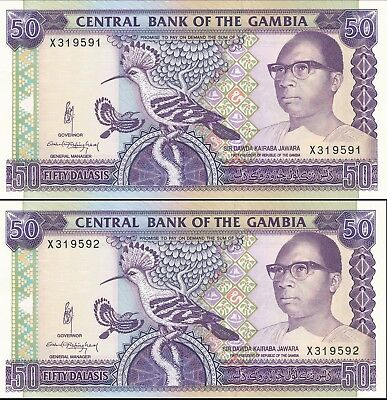 Gambia 50 Dalasis / Pick 15 / Consecutive UNCIRCULTED Direct from Mint Roll
