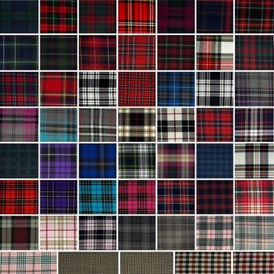 Fashion Tartan Plaid Check Polyviscose Fabric 150cm Wide Royal Stewart Scottish