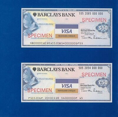 Great Britain: 1980s Barclays Bank. Images of Set of SPECIMEN Travellers Cheques