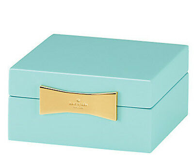 Kate Spade GARDEN DRIVE Square Jewelry Box Turquoise Lacquer New Boxed