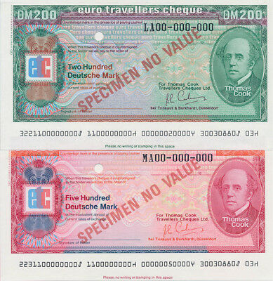 Germany: 1982 Thomas Cook. RARE 200 & 500 Mark SPECIMEN Euro Travellers Cheques