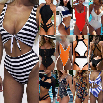 Sexy Women One-Piece Push Up Bikini Bandage Monokini Swimsuit Bathing Swimwear S