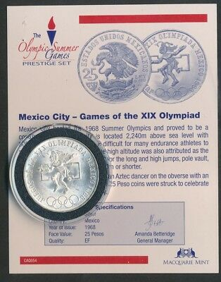 Mexico: 1968 Mexico City Olympic Game 25 Pesos Silver Encapsulated w Certificate