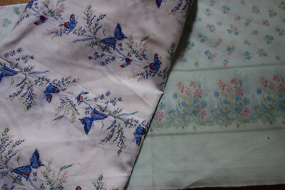 two remnants  blue vintage fabric