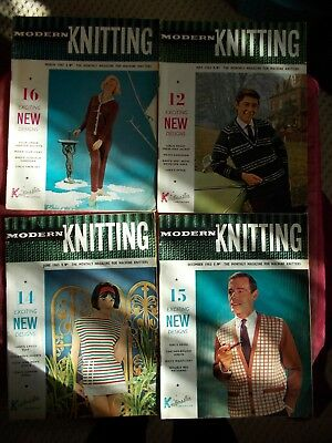4 Vintage 1963 Modern Knitting Magazines In Vgc - Machine Knitting Patterns