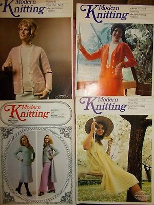 4 VINTAGE 1970's MODERN KNITTING MAGAZINES IN VGC - MACHINE KNITTING PATTERNS