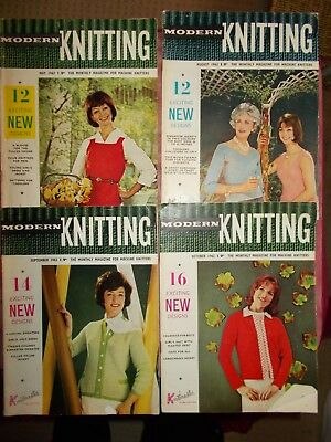 4 Vintage 1962 Modern Knitting Magazines In Vgc - Machine Knitting Patterns