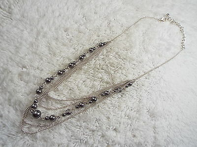 Silvertone Grey Bead Chain Scoop Necklace (C26)