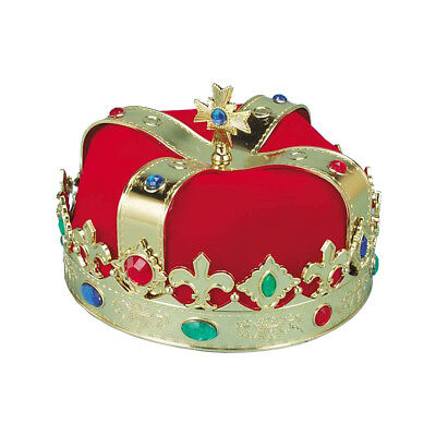 Plastic Royal King Queen Gold Crown Medieval Renaissance Hat Costume Accessory