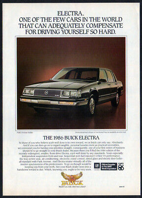 1986 BUICK Electra Park Avenue Sedan Vintage Original Print AD - Black car photo