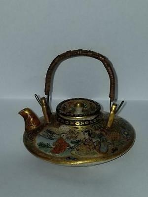 "ANTIQUE JAPANESE SATSUMA POTTERY MINI TEAPOT 2 5'8"" LONG signed"
