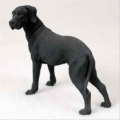 Great Dane Black Uncropped Dog Hand Painted Collectable Figurine Statue