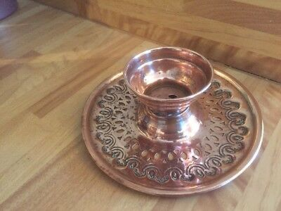 Vintage Copper Arts And Crafts Patterned Shaped Round Candle Holder VGC