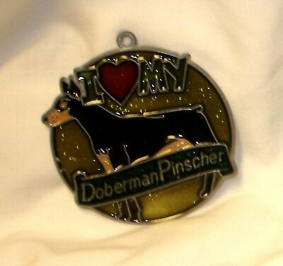 "New ""I Love My Doberman"" Suncatcher (Black) Metal Resin (NEW Old Stock) FREE S&H"