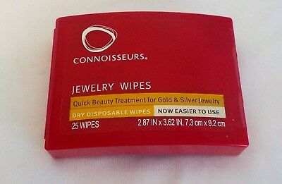 Connoisseurs Jewelry Cleaning Wipes Polish Gold Silver 25 Disposable Dry Wipes