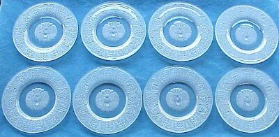 8 Antique 1928 Art Deco REIJMYRE Sweden Frosted Roaring Leo Lion Crystal Plates