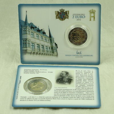 2 Euro Münze Coin Card Coincard Luxemburg Luxembourg Wilhelm Iv 2012 Bu St