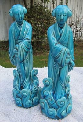 Finest Mirror Pair Of Chinese Antique / Vintage Figures - Turquoise Glazed