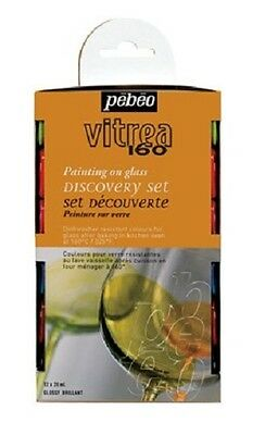 PEBEO VITREA 160 GLOSSY GLASS PAINTING 12 x 20ML WATER BASED PAINT CRAFT HOBBY