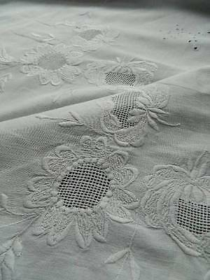 Antique white crisp cotton bedspread  embroidery whitework and scallop hems