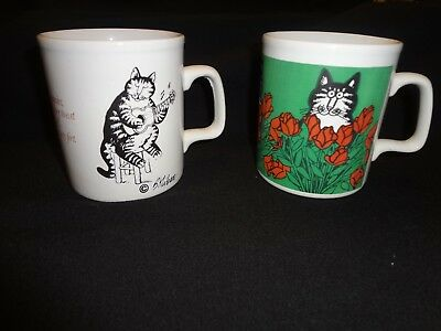Coffee Mugs KLIBAN CAT Guitar Love to Eat Them Mousies & Bed of Roses 2 VTG Cups