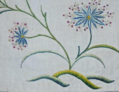 EXQUISITE RARE FRAGMENT 18th CENTURY GEORGIAN SILK EMBROIDERY ON FINE LINEN