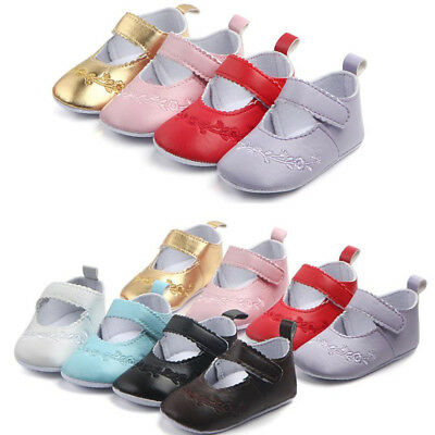 Toddler Baby Girl Soft Sole Leather Crib Shoes Anti-slip Sneaker Prewalker 0-12M
